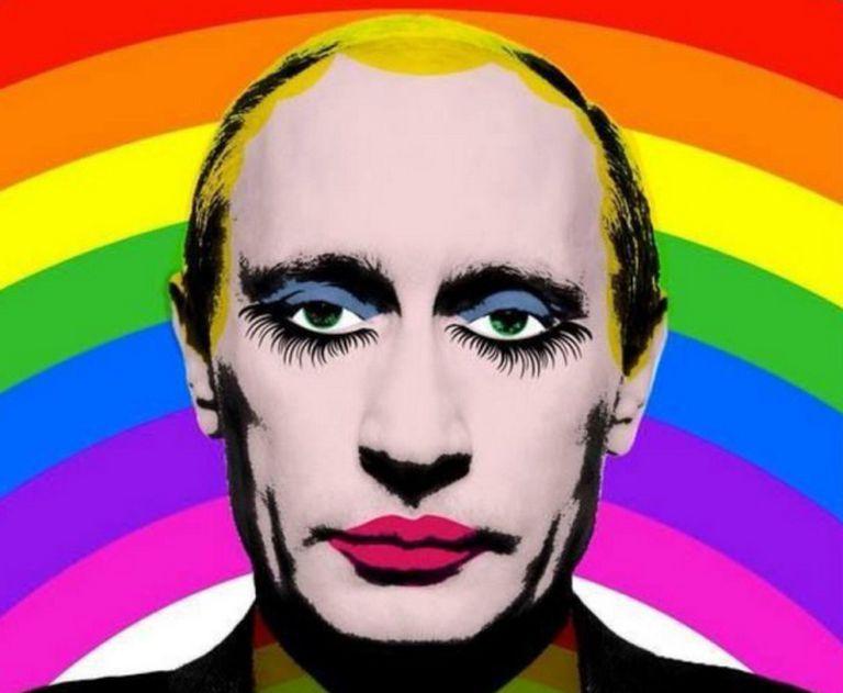 Ilustração de Vladimir Putin popularizada durante as manifestações em favor dos direitos LGBT+ na Rússia em 2013