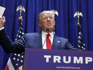 Donald Trump no anúncio de sua candidatura republicana.