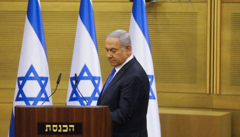 O primeiro-ministro israelense, Benjamín Netanyahu, na segunda-feira na Kneset ( Parlamento).