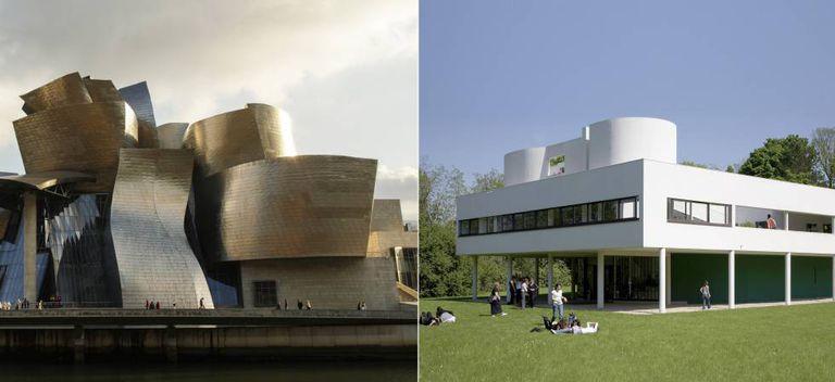 À esquerda, o Museu Guggenheim de Bilbao, de Frank Gehry. À direita, a Villa Savoye, desenhada por Le Corbusier nos arredores de Paris.