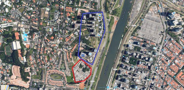 Em vermelho, a Favela Jardim Panorama. Em azul, o complexo do Parque Cidade Jardim.