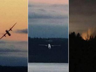 Composição de imagens feitas do avião roubado.