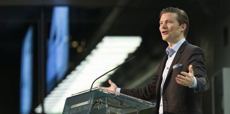 Johan Norberg na semana passada, durante a sua conferência na Fundação Rafael del Pino, em Madri.