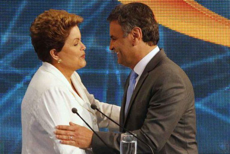 Dilma e Aécio no debate da Band, no dia 14.