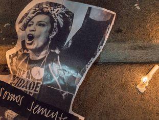 Protesto quando morte de Marielle Franco completou um mês.