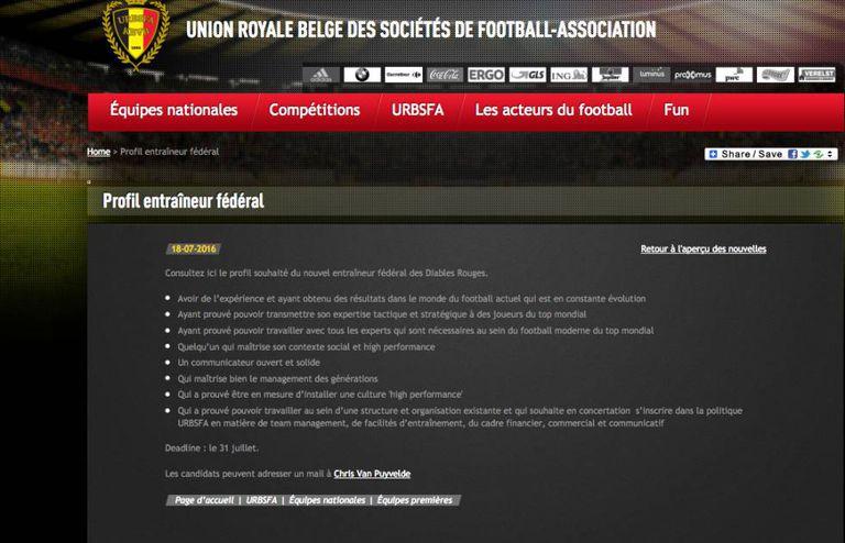 Anúyncio publicado pela federação belga de futebol.
