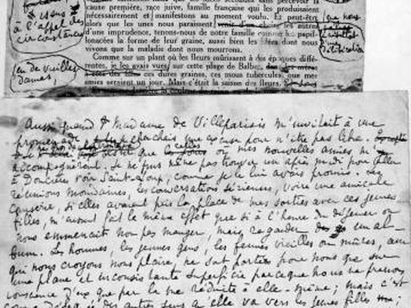 Manuscrito original da obra de Proust 'Em Busca do Tempo Perdido'.
