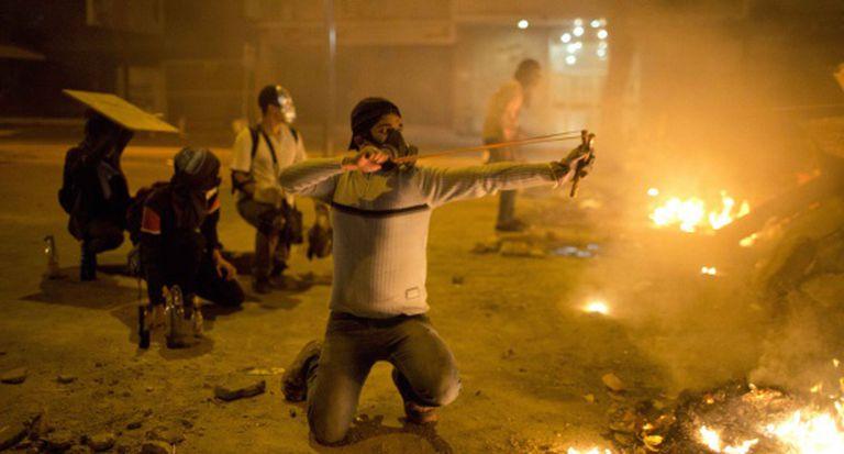 Enfrentamentos após os protestos.