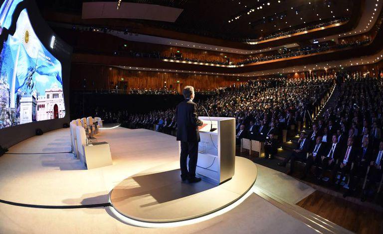 Mauricio Macri abre o evento.