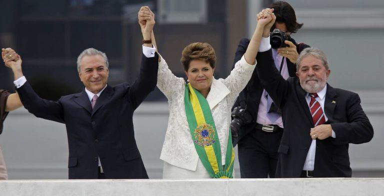Temer, Dilma e Lula em janeiro de 2011.
