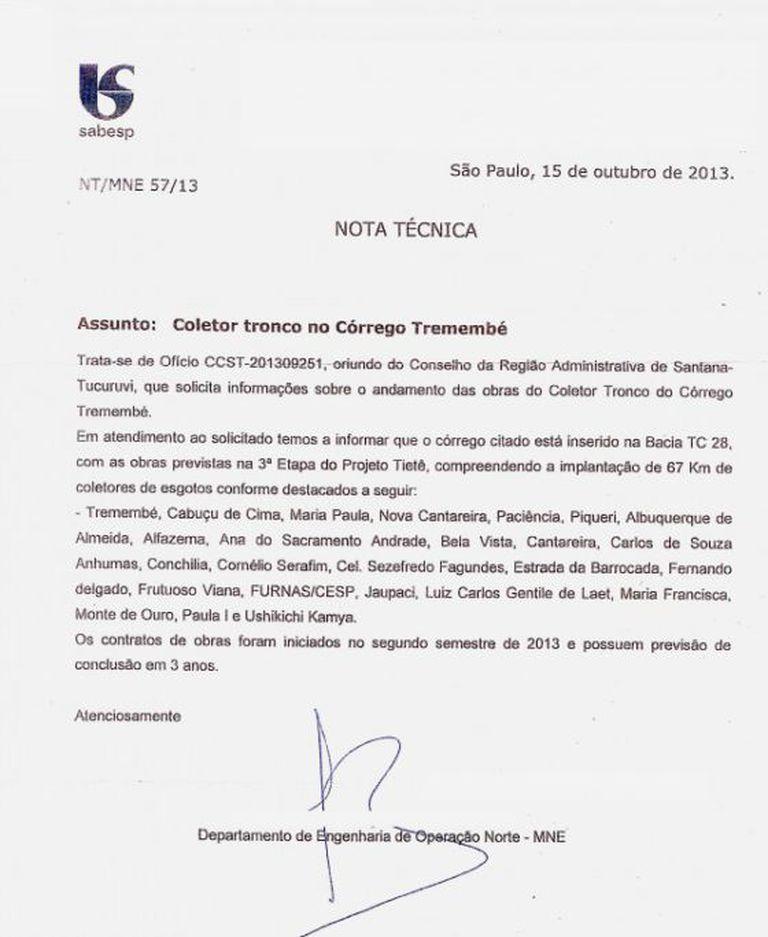Nota técnica da Sabesp ao Conselho da Região Administrativa de Santana-Tucuruvi. Foto: Reprodução/Conselho da Região Administrativa de Santana-Tucuruvi