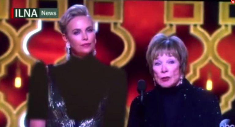 A imagem retocada de Charlize Theron ao lado de Shirley MacLaine.