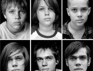 O ator Ellar Coltrane, em seis dos 12 anos de sua adolescência retratada em 'Boyhood'.