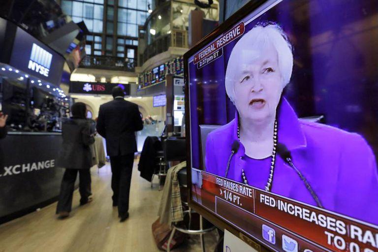 Presidenta do Fed, Janet Yellen, durante anúncio da alta de juros.