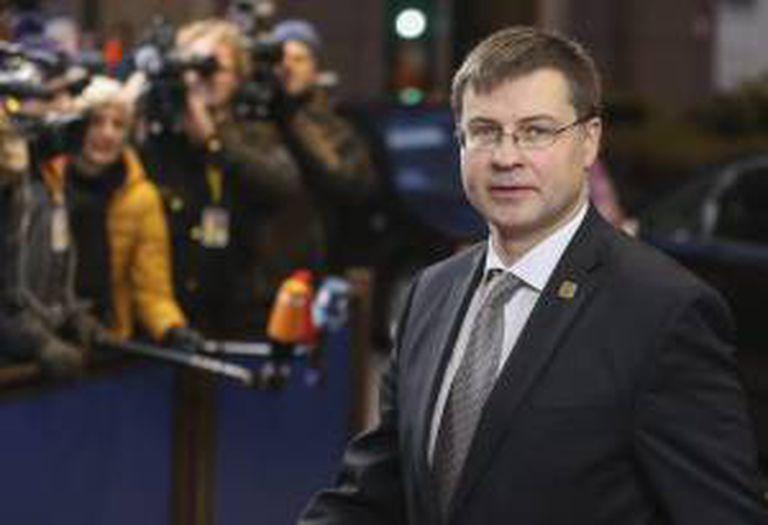 O primeiro-ministro da Letônia, Valdis Dombrovskis, durante uma cúpula de líderes da União Europeia em Bruxelas, em imagem de arquivo.