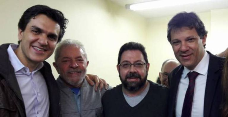 Eduardo Guimarães, entre Lula, Haddad e Chalita.