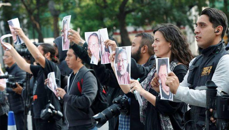 Protesto contra assassinatos de jornalistas no México