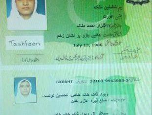 A carteira paquistanesa de Tashfeen Malik.