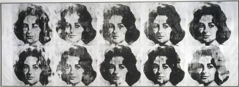 'Ten Lizes', serigrafia realizada por Warhol com retratos de Elizabeth Taylor.