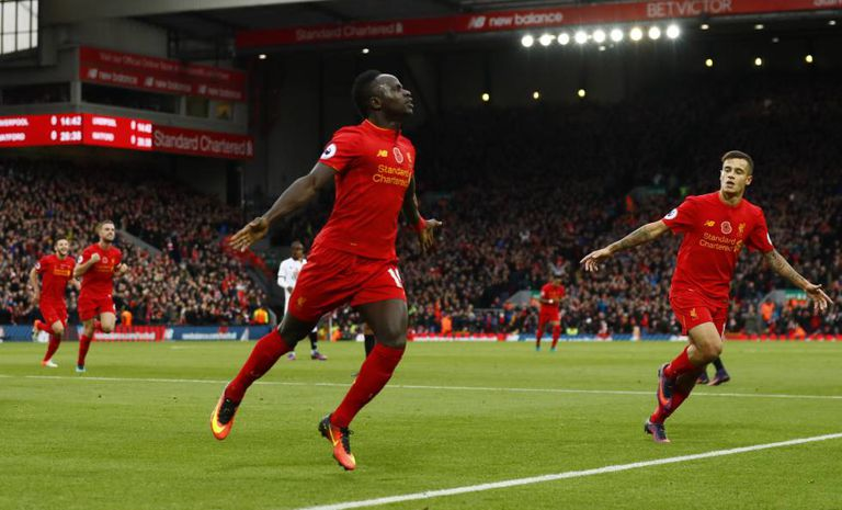Sadio Mané em atuação pelo Liverpool.