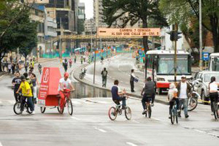 A ciclovia de Bogotá, na Colômbia.