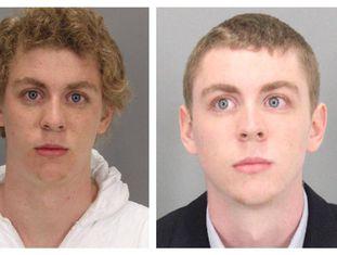 Brock Turner, ao ser preso janeiro de 2015 (à esquerda) e ao ser condenado por estupro em junho de 2016 (à direita).