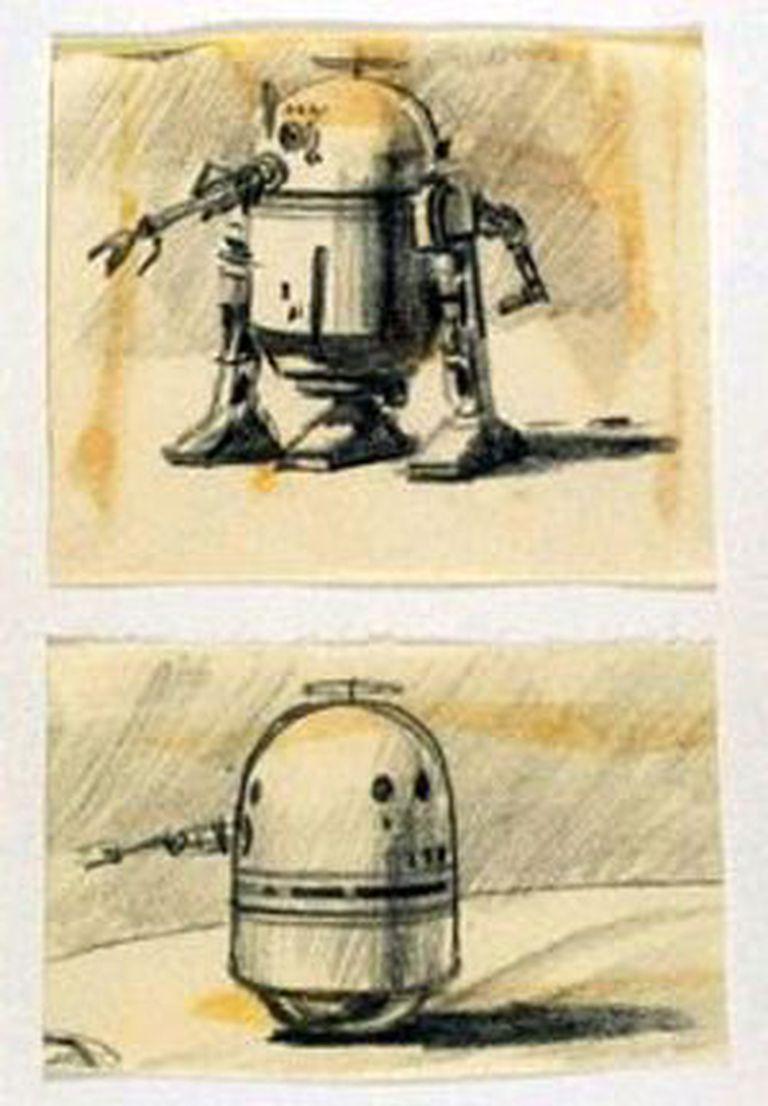 Primeiros desenhos de McQuarrie para R2D2 inspirados diretamente em Corrida Silenciosa.