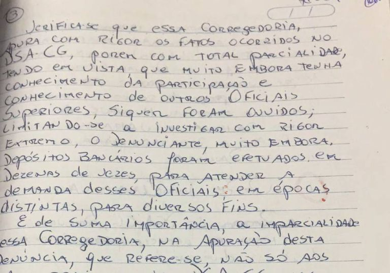 """Em carta, o coronel José Afonso Adriano Filho menciona """"depósitos bancários"""" para atender a demandas de coronéis que pretende delatar"""