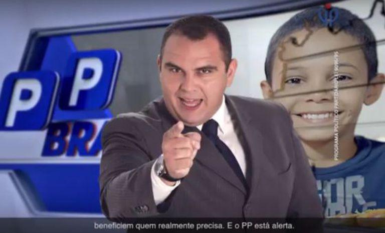 Apresentador simula programa policial na propaganda do PP.