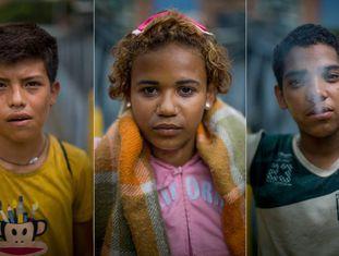 Retratos de crianças abandonados em Caracas.
