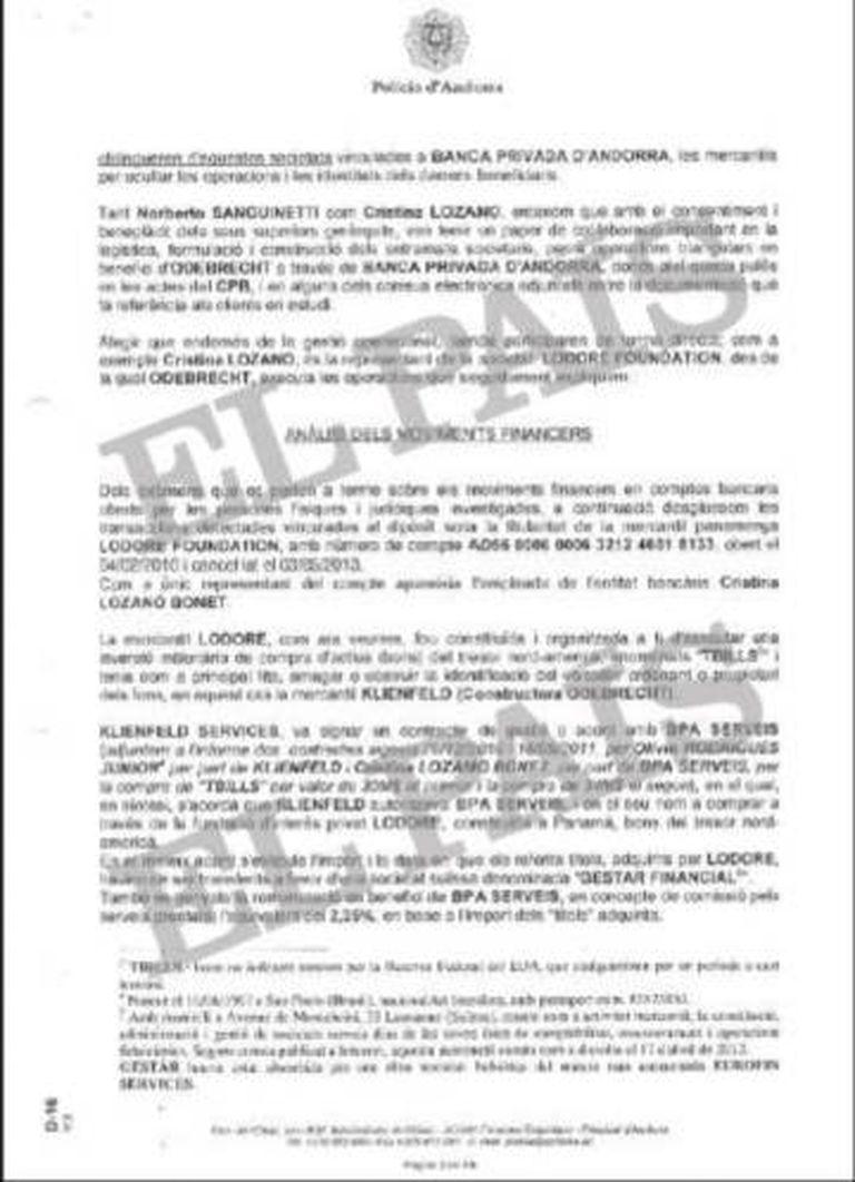 Informe da Polícia de Andorra que comenta a fraudulenta operação de aquisição da Quattor