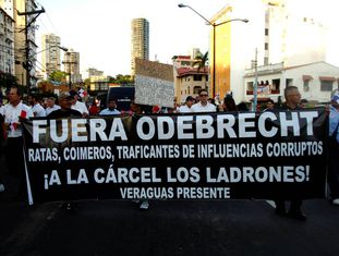 Manifestação contra a Odebrecht, na Cidade do Panamá.