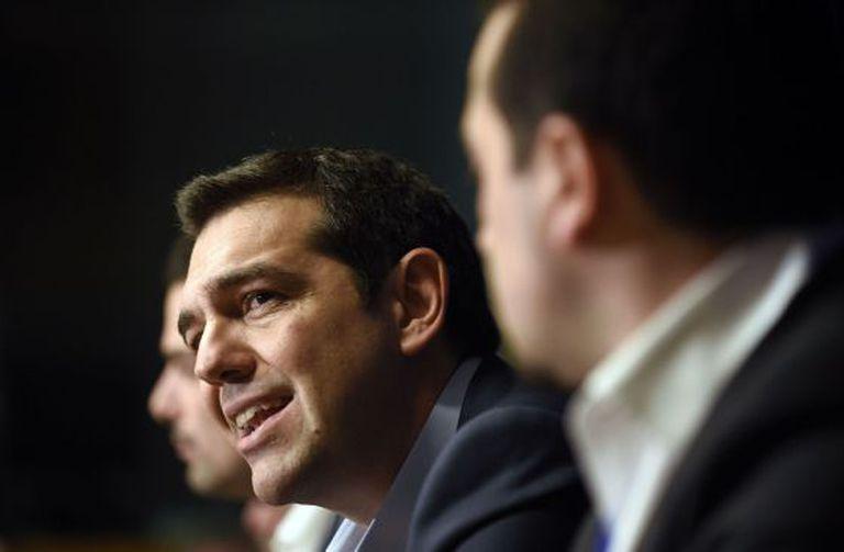 Alexis Tsipras durante coletiva de imprensa em Bruxelas.