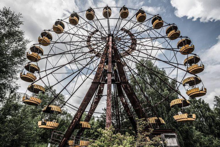 A famosa roda gigante de Chernobyl, que não foi inaugurada e hoje continua a ser um poderoso símbolo do desastre.