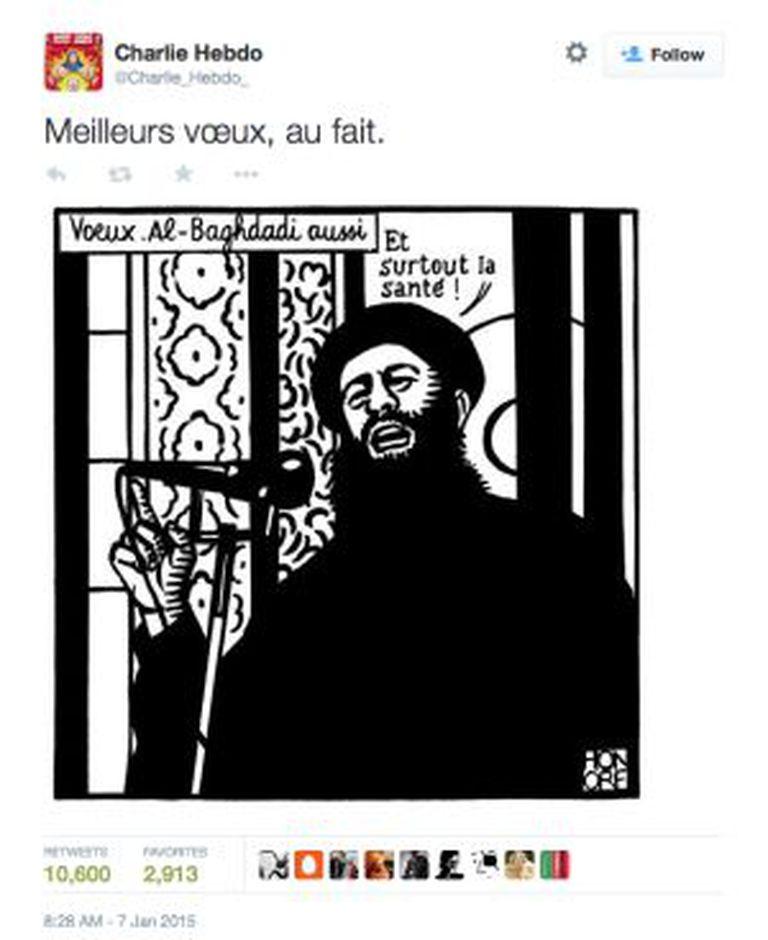 O último tuíte da revista é uma caricatura do Estado Islâmico.