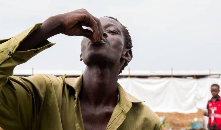 Campanha de vacinação contra o cólera entre a população deslocada no Sudão do Sul.
