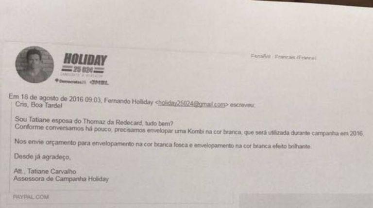Em mensagem, Tatiane Carvalho solicita serviço em automóvel que não foi contabilizado.