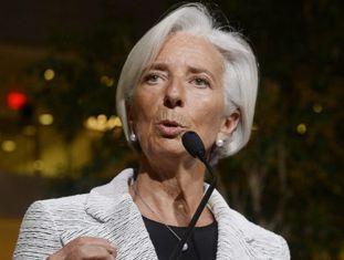 Christine Lagarde durante o anúncio do FMI.