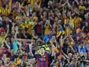 Messi comemora o primeiro gol da partida.