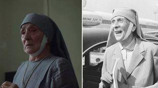 À esquerda, a atriz Jane Lapotaire interpretando a princesa na terceira temporada de 'The Crown'. À direita, a verdadeira Alice de Battenberg ao chegar a Londres, em 1965.