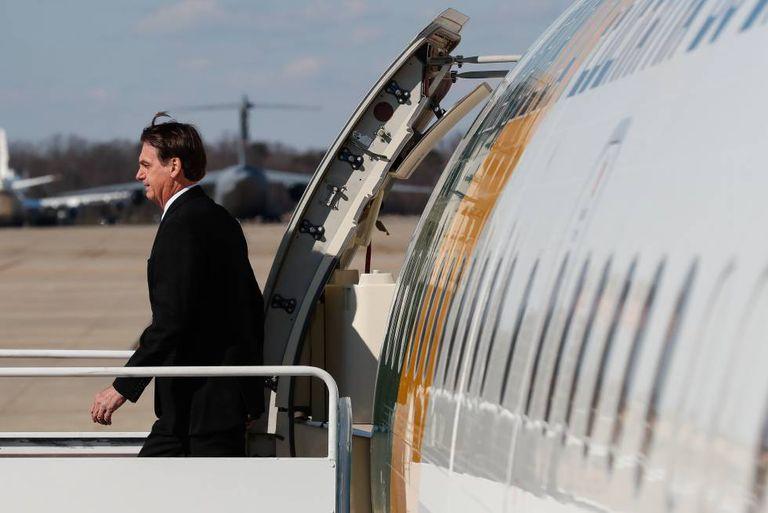 Bolsonaro em sua chegada a Washington para visitar Donald Trump