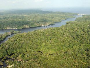 Vista da reserva mineral Renca na Amazônia.