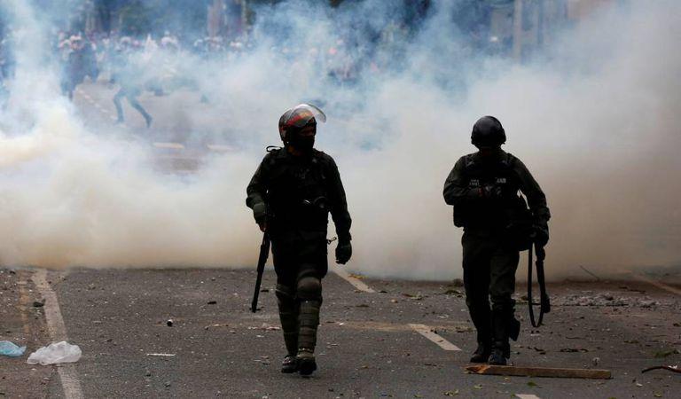 Protestos da oposição venezuelana, sábado em Caracas.