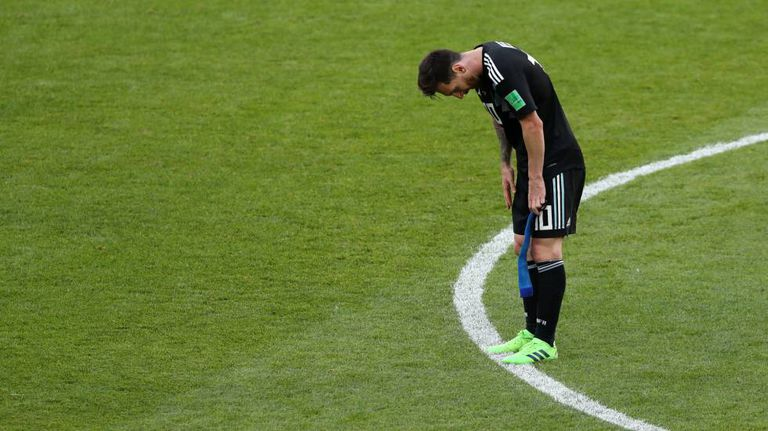Messi, no final do duelo contra a Islândia