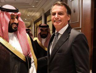 O príncipe saudita Mohammed bin Salman e o presidente Jair Bolsonaro.
