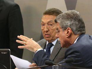 Senador Antonio Anastasia, Presidente da CCJ, senador Edson Lobão e Relator Romero Jucá na votação da reforma trabalhista.