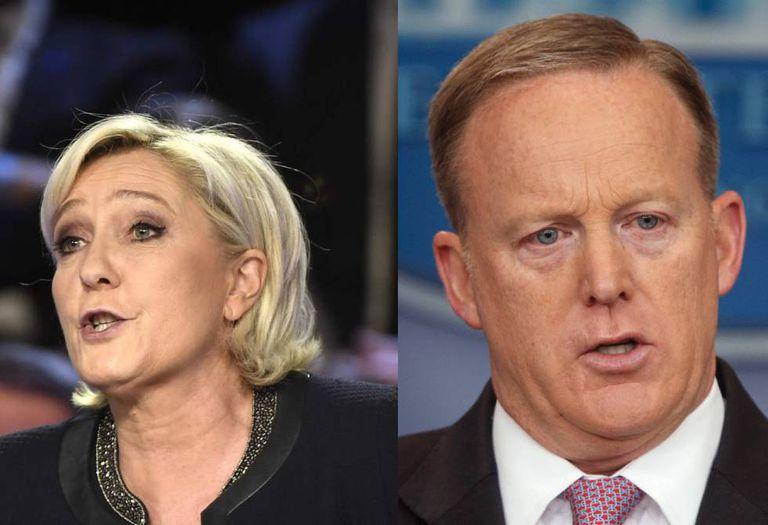 Na imagem, a francesa Marine Le Pen e o norte-americano Sean Spicer.