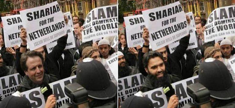 Montagem tuitada em fevereiro pelo líder antimuçulmanos Geert Wilders que coloca um rival político, Alexander Pechtold, em uma manifestação na qual se pede a imposição da lei islâmica na Holanda. À direita a foto real, sem manipulação.