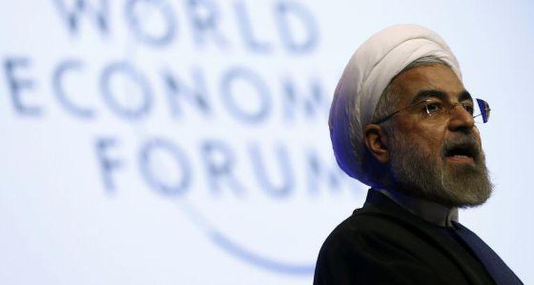 O presidente do Irã, Hasan Rohaní, em Davos.
