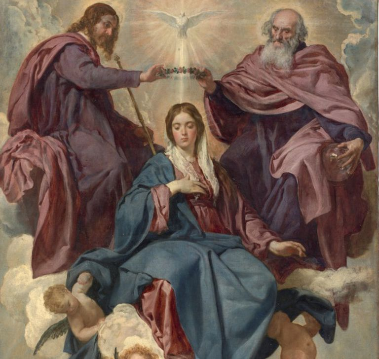 Detalhe de 'A Coroação da Virgem', de Velázquez (Museu do Prado). A Virgem veste manto azul e túnica vermelha, opção comum ao longo da história da arte, por serem pigmentos muito estáveis, embora caros